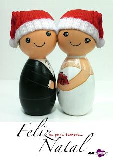 noivinhos de madeira feliz natal