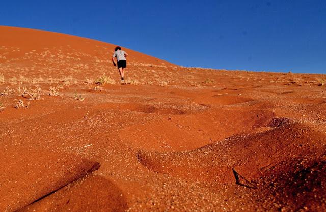 Climbing up Dune 45 in Namibia