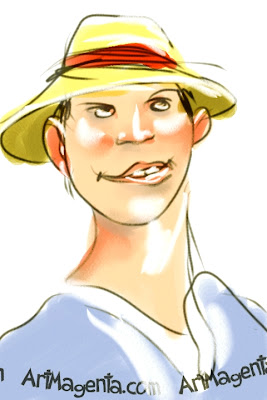 Dad  in a summer hat is  a gesture drawing by artist Artmagenta