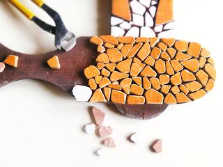 mozaika - Lustro Trójbarwne w trakcie tworzenia