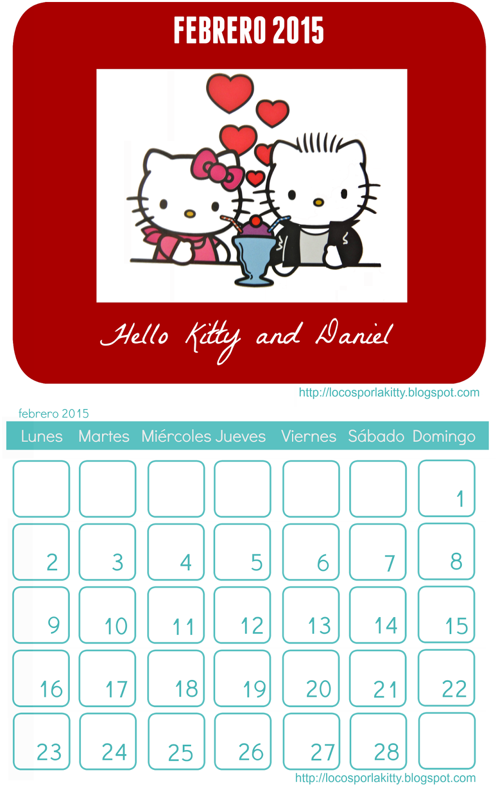 Calendario completo Hello Kitty 2015 para imprimir : Locos por Hello ...