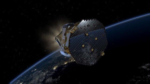 Artist's impression of LISA Pathfinder in low-Earth orbit, after separation from the upper stage of the Vega rocket, showing how the spacecraft will gradually raise the highest point of the orbit using its own separable propulsion module. Credit: ESA/ATG medialab
