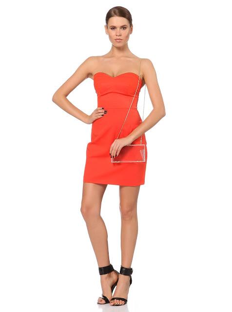turuncu straplez kısa elbise