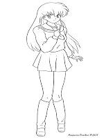 Mewarnai Gambar Kagome Dari Manga Inuyasha
