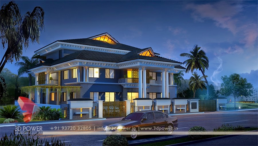 3D Night View Exterior Of  Roof  Pattern  Bungalow