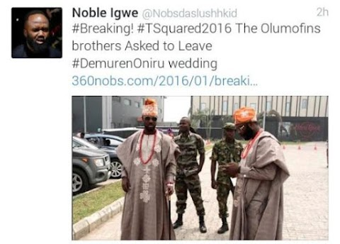 The Olumofins Brothers asked to leave Toolz and Tunde Demuren's Wedding