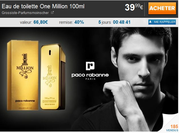 Eau de toilette One Million 100ml 39.99€ au lieu de 66.80€