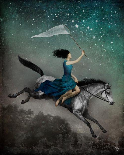 Christian Schloe ilustração digital surreal onírica sonhos A apanhadora de sonhos