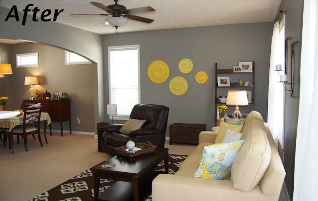 Yellow, Grey, White Living Room