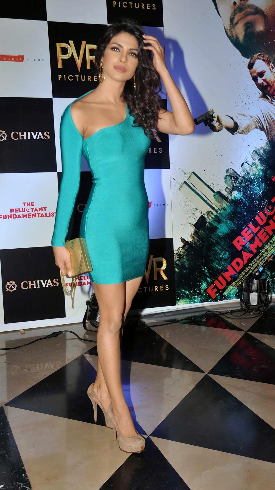 Priyanka Chopra in Tight Sky-Blue Mini Dress