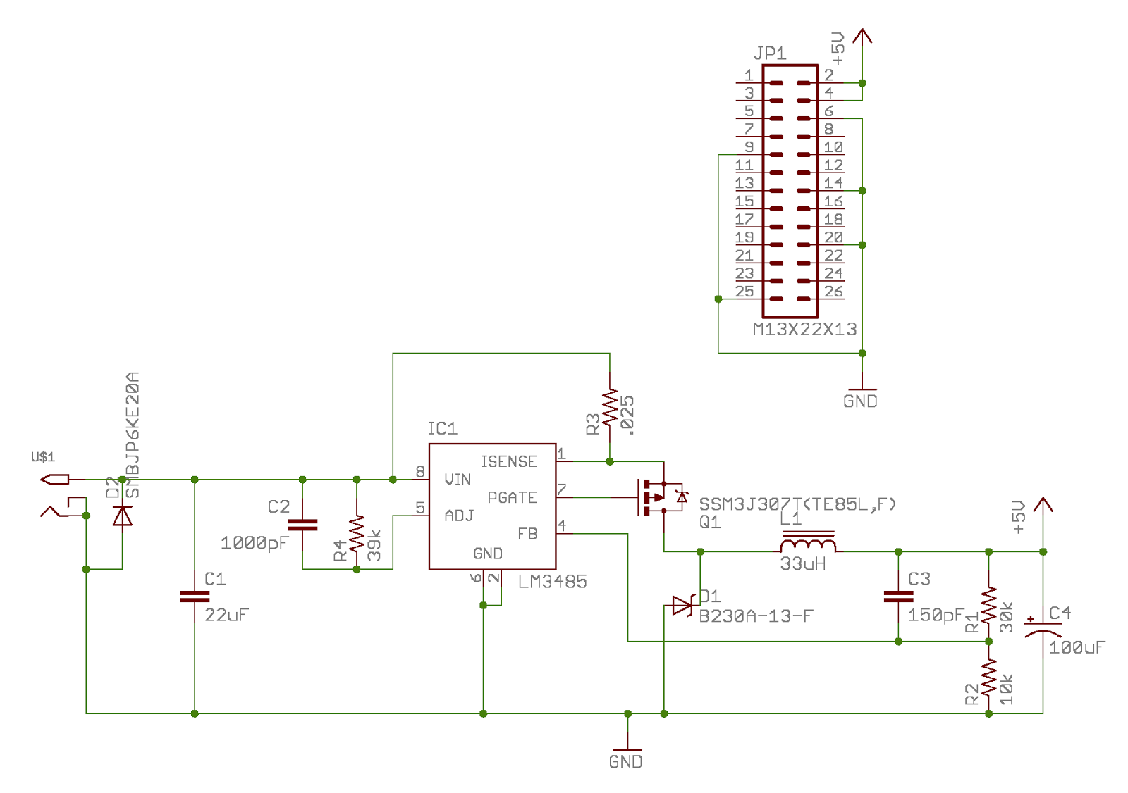 Geppetto Electronics: Pi Power schematic