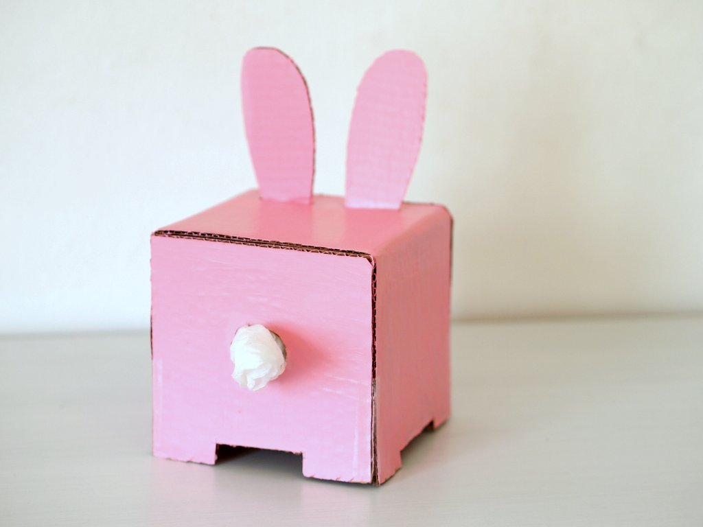 Make A Cardboard Bunny Tissue Box Holder Pink Stripey Socks