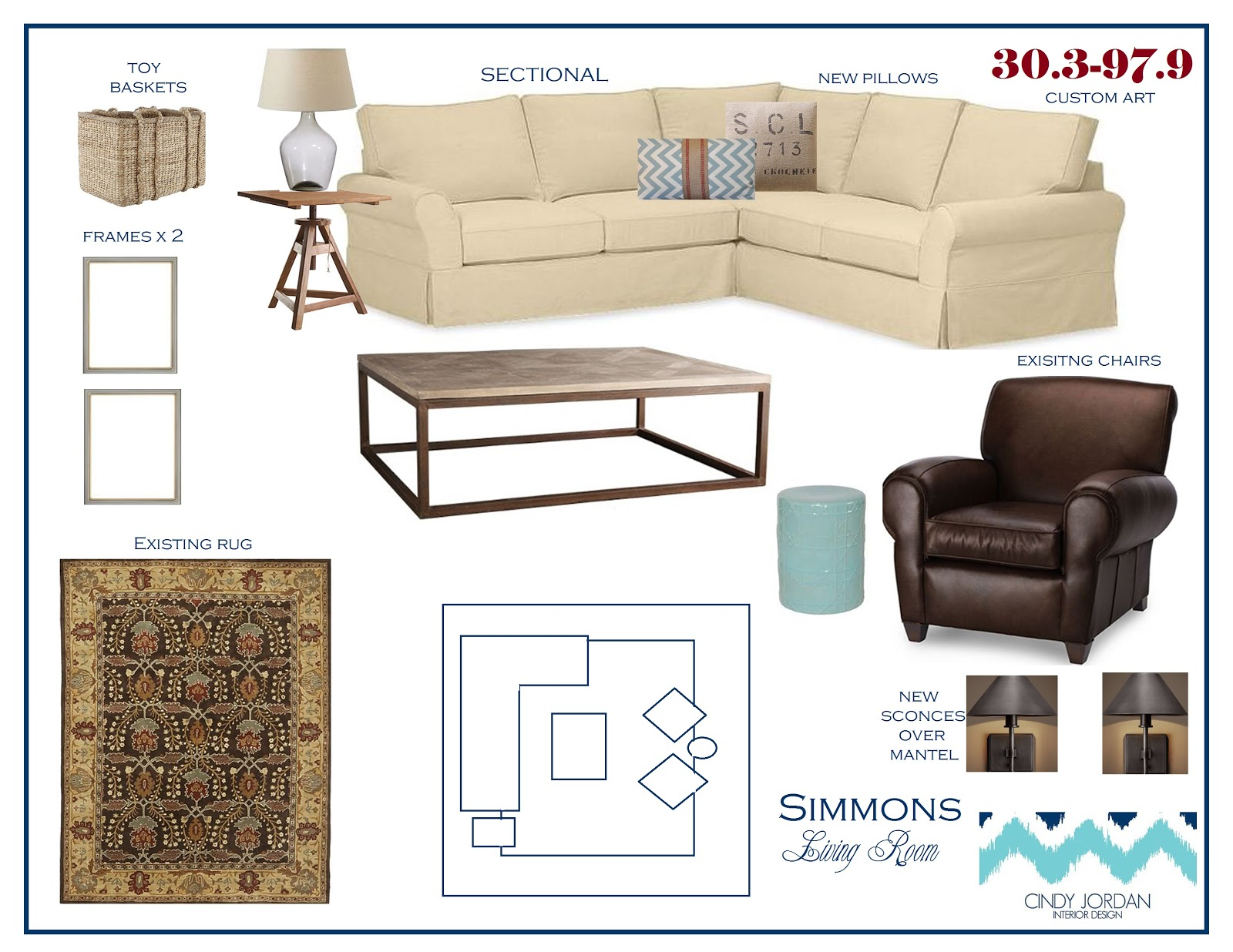 The first two plans are for the family room. One shows dual sofas  title=