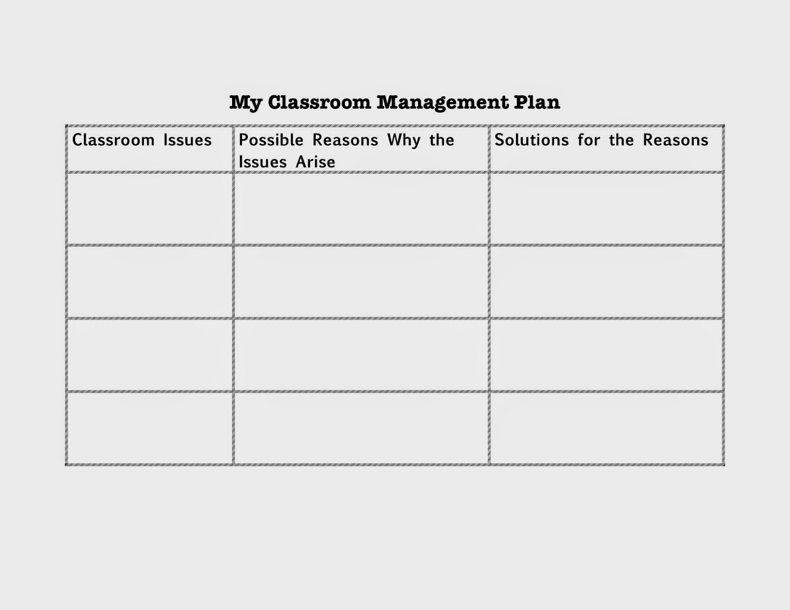 my classroom management plan essay Many teachers prefer to create different areas within the classroom  the book  covers essential topics of instruction, planning, management, and professional.
