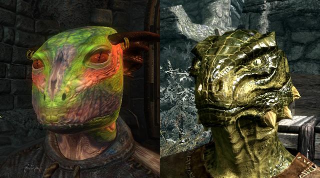 skyrim oblivion argonian comparison