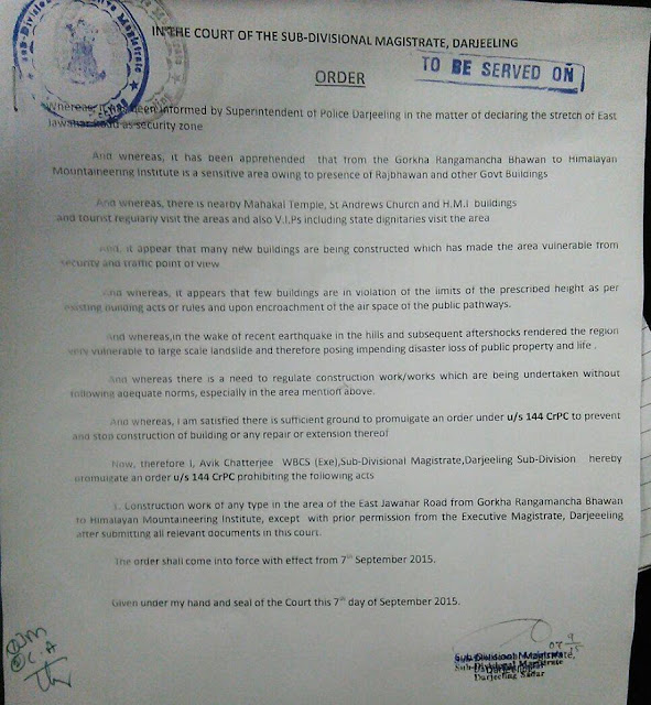 Order issued under section 144CrPC prohibiting construction work in the area of the East Jawahar Road from Gorkha Rangmancha Bhawan to Himalayan Mountaineering Institute