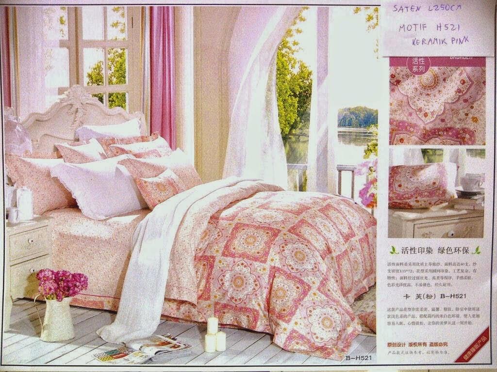 Sprei Jepang Motif Keramik Pink