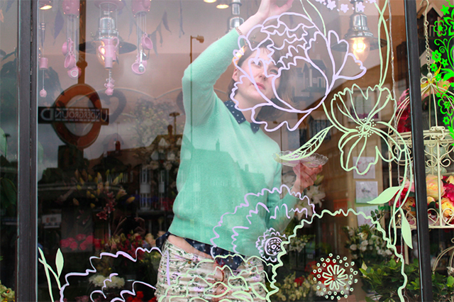emma block painting window at your london florist