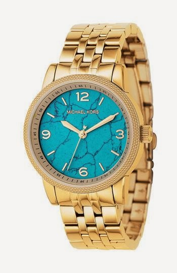 Beautiful Michael Kors Turquoise And Gold Watch