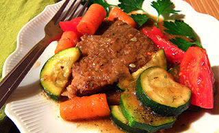 Swiss Steak and Veggies Garnished with Parsley
