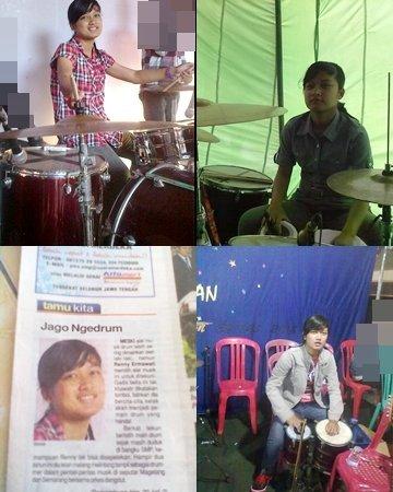 cewek 17 tahun pemain kendang dangdut dan drumer