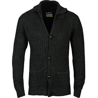 Brave Soul Men's Knitted Shawl Neck Button Thru Cardigan - Charcoal