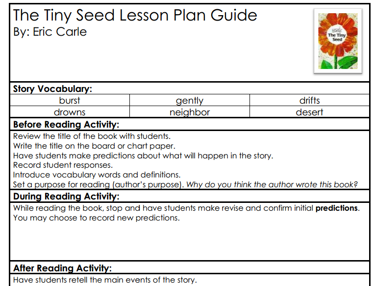 Spring Book 10 The Tiny Seed – The Tiny Seed Worksheets
