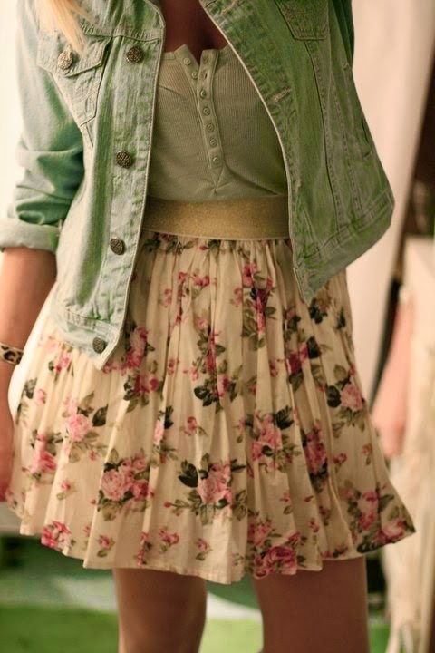 Denim jacket with floral skirt!!
