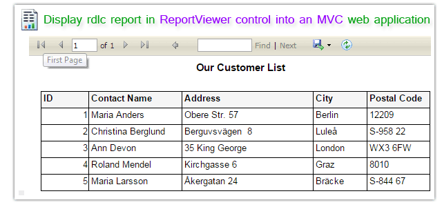 How to display rdlc report in ReportViewer control into an MVC web