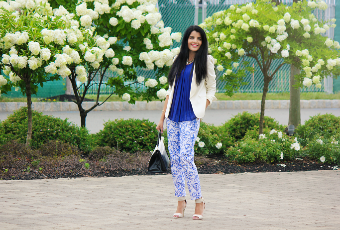 How to wear printed pants, White Blazer Outfits, Tailored Blazer Outfits