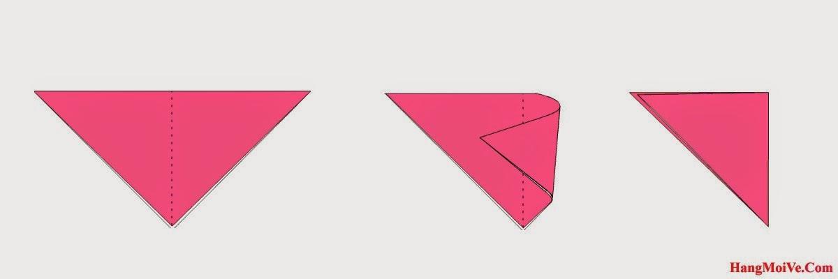 Bước 2: Gấp đôi tờ giấy hình tam giác lại theo chiều từ trái qua phải.