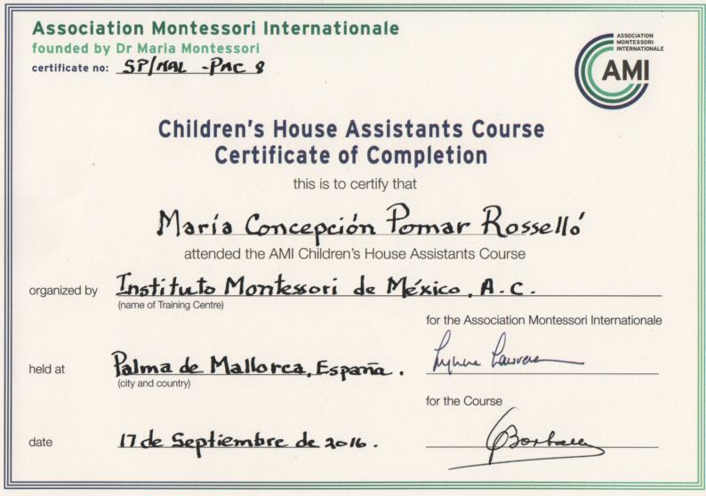 Montessori AMI Assistant Diploma