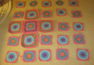 start of pink petuna afghan