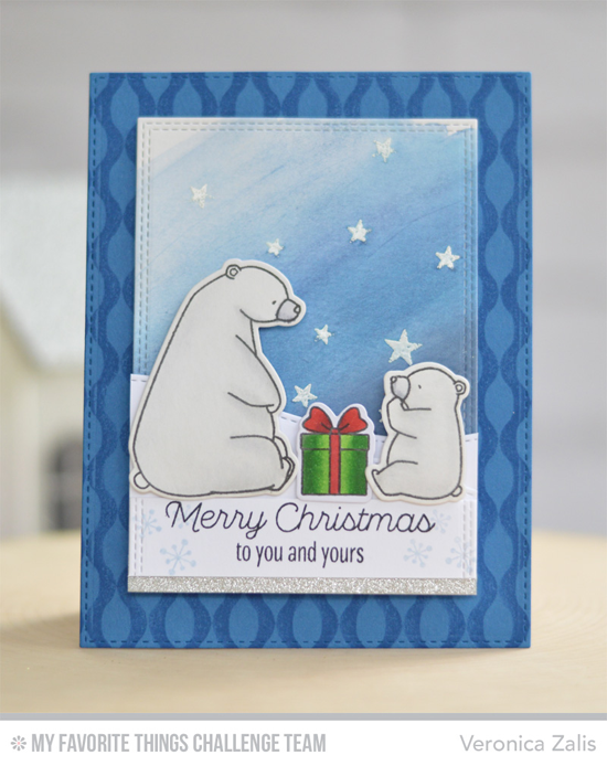 Cute Christmas Bears Card by Veronica Zalis featuring the Birdie Brown Birthday Bears and Lisa Johnson Designs Trim the Tree stamp sets and Die-namics and the Winter Waves and Star Celebration background stamps #mftstamps