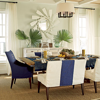 Modern palm boutique coastal living love for Beachy dining room ideas