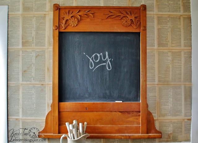 repurposed antique oak frame into chalkboard via Knick of Time