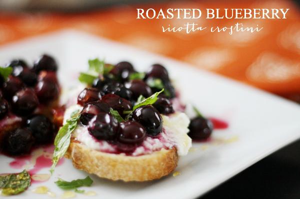 Roasted Blueberry Ricotta Crostini