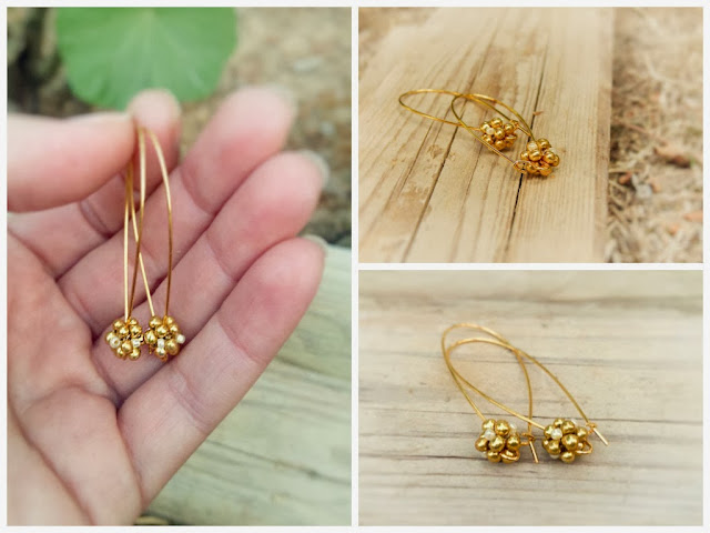 Golden drop dangle earrings @ http://CallOfEarth.Etsy.com