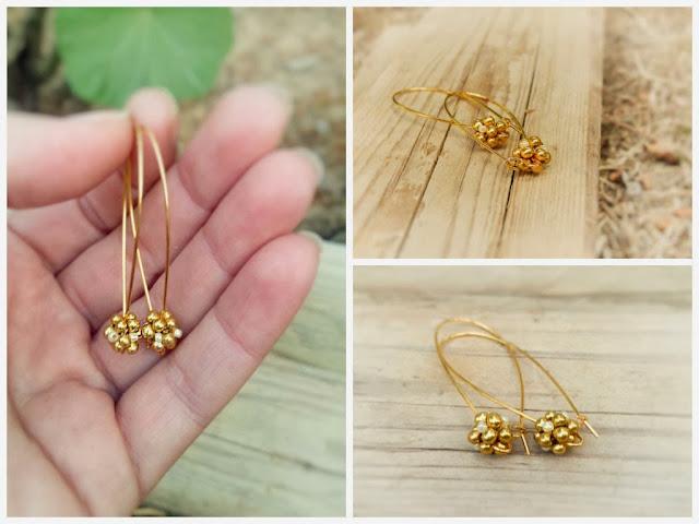Golden drop dangle earrings @ http://CallOfEarth.Etsy.com