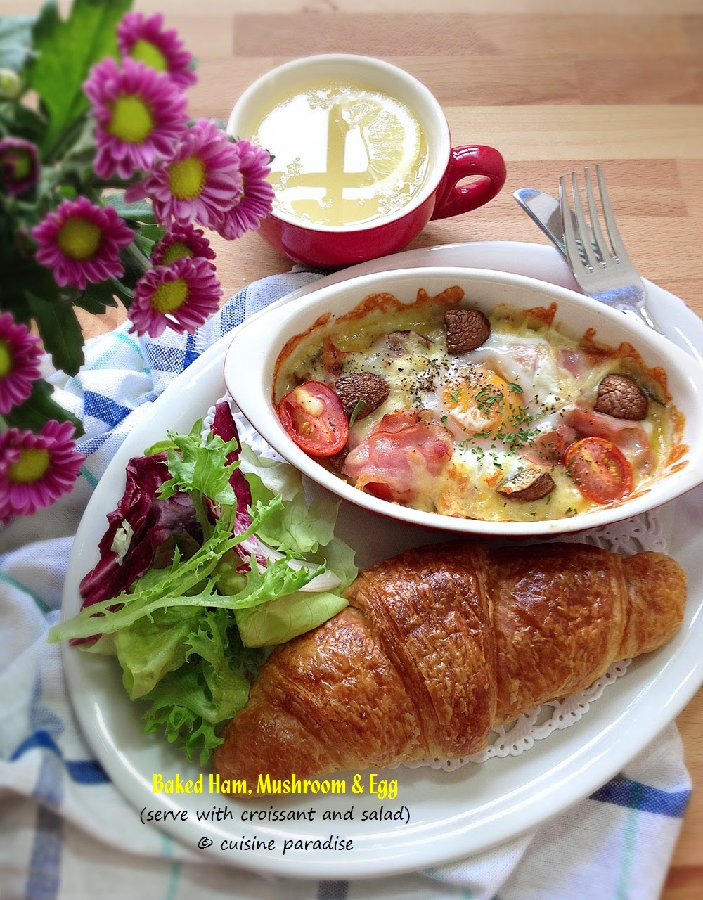 Cuisine paradise singapore food blog recipes reviews and travel cafe style breakfast baked ham mushroom and egg served with croissant and salad forumfinder Images