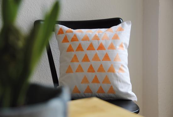 binedoro Blog, Kissen, bedrucken, Dreiecke, DIY