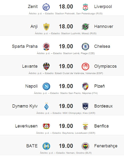 Dieciseisavos de Final Europa League