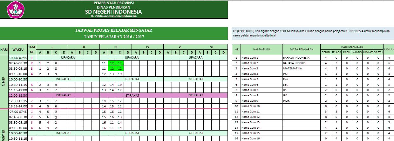 Aplikasi Jadwal Pelajaran SD, SMP, SMA 2016 anti Bentrok menggunakan Excel