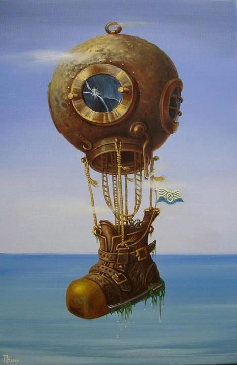 Gennady Privedentsev art paintings surreal Divers gear