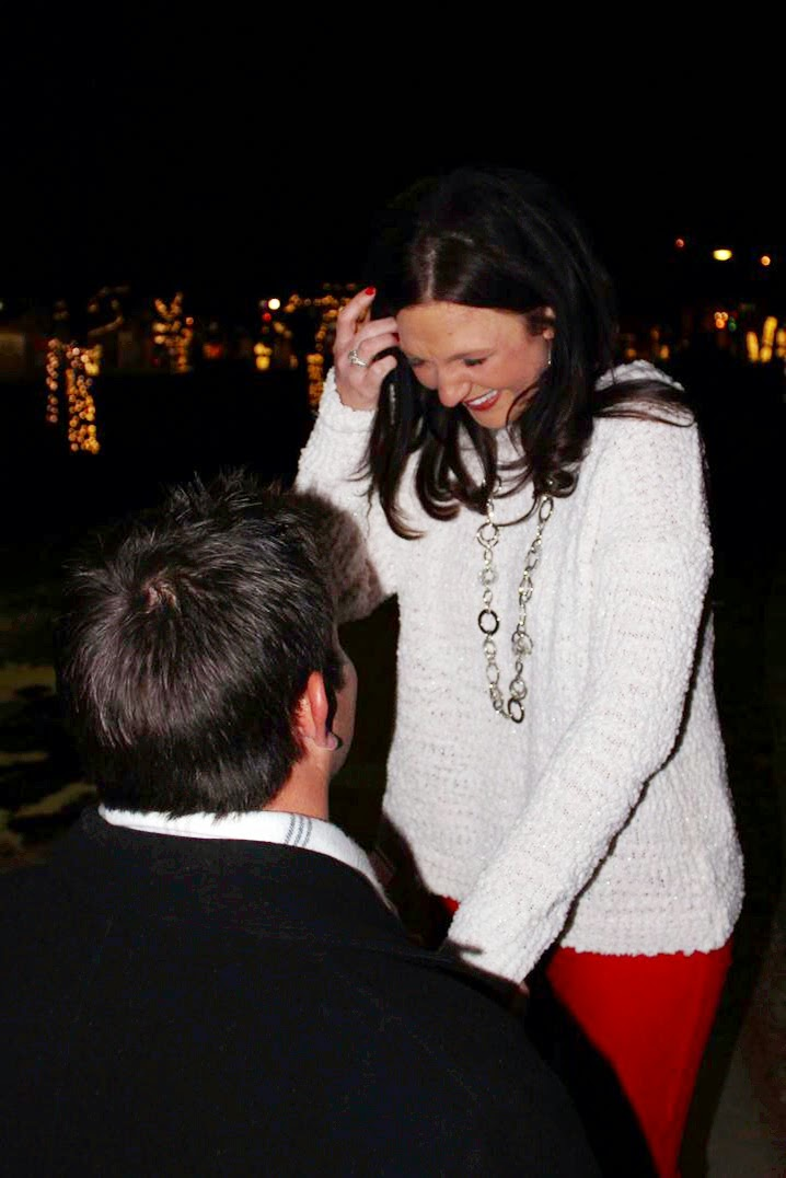 winter proposal with Christmas lights, Ryan Martin and Leslie Lukens, engagement