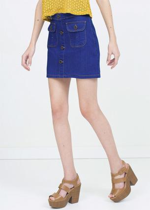 Renner coleção feminina Primavera Verão 2016 saia jeans com abotoamento