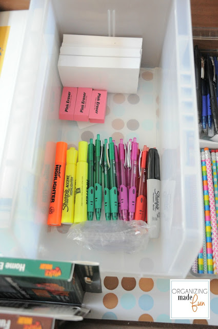 Dresser Drawer for school supplies :: OrganizingMadeFun.com