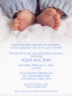 Little Feet Baby Boy Baby Shower Invitations