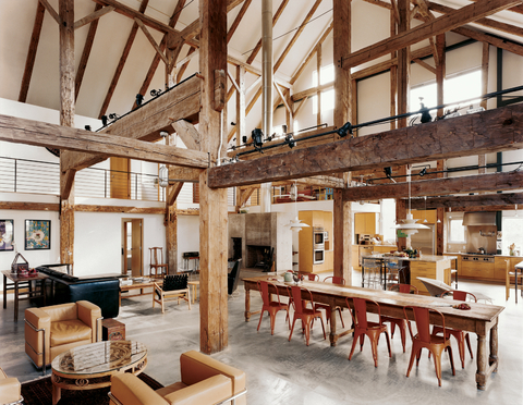 This Spectacular Space An 1800s English Barn Converted Into A Country Vacation Home By Architect Preston Scott Cohen Serves Literary Couple And Their