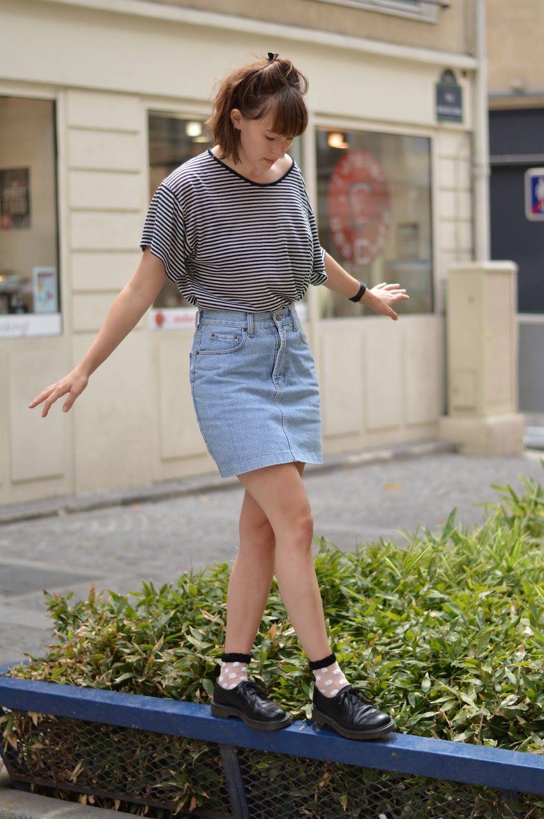 SS15 trends striped stripy top, denim skirt and Dr Martens